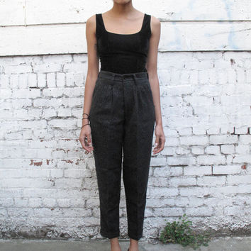 Vintage High Waisted 1980's Black Speckled Tweed Tapered Wool Trousers Pants S/M 27