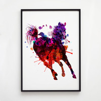 Horse decor Colorful art Wildlife print EM016