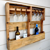 Wood Wine Rack, Rustic Wine Rack, 6 glass holder, from Upcycled Pallet wood