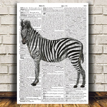 Zebra poster Watercolor print Wildlife print Dictionary decor RTA1253