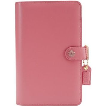 Color Crush Personal Planner Leather 6-Ring A2 Binder-Light Pink