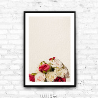 Valentines Gift, Girlfriend gift, Roses Print, Valentines Day Decor, Rose Wall Art, Rose Decor, Print Art, Rose Print, Love sign download