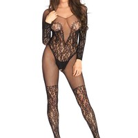 Leg Avenue Female Vine Lace And Net Long Sleeved Bodystocking 89190