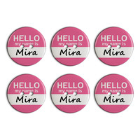 Mira Hello My Name Is Plastic Resin Button Set of 6