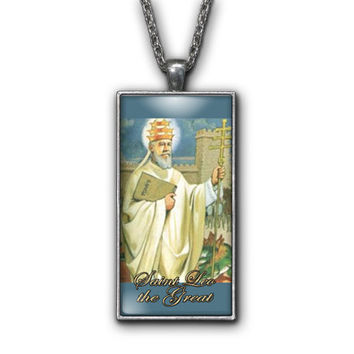 Saint Leo the Great Painting Religious Pendant Necklace Jewelry