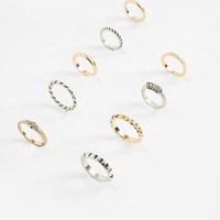 Missguided - Gold and Silver Mix Set Rings
