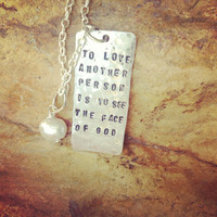 To Love Another. Les Miserables Inspired Necklace. Hand Stamped Necklace.