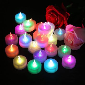 24 pcs Flickering LED Candels Electronic Flameless Romantic Colorful Tealight Candeles For Wedding Party Holiday DIY Decor Light