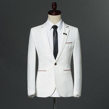 2018 New Spring Autumn Mens Smart Casual White Black Suit Blazer Slim Fitted Male Single Button Office Wedding Dress Coats