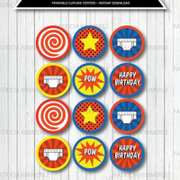 Printable Cupcake Toppers, Comic, Superhero, Pow, Underpants, Boy, Epic, Graphic Novel, Hero, Birthday, Decorations, DIY,  INSTANT DOWNLOAD