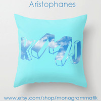 "Monogram Personalized Custom ""Aristophanes"" Pillow Cover 16x16 Initials Unique Gift for Her Him Couch Art Bedroom Room Teal Blue Sky Clouds"