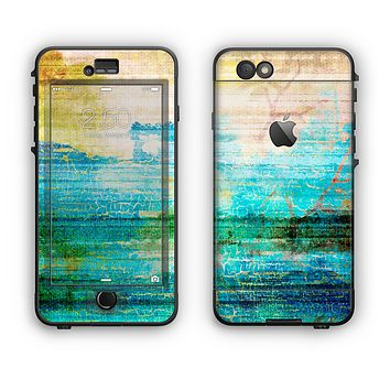The Faded and Cracked Green Paint Apple iPhone 6 LifeProof Nuud Case Skin Set