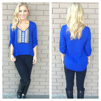 Royal Blue Xylo Patch Blouse