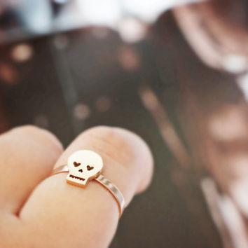 Sale - skull adjustable ring - rose gold titanium