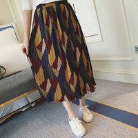 Retro Womens Summer Loose Hight Waist Chiffon Long Skirt Gift 69