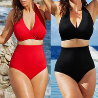 2017 Plus Size Solid Women Swimsuit Push Up Big Cup Size Padded High Waist Bikini Set Swimming Suit Women Swimwear Bathing Suits
