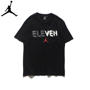 Air Jordan Eleven Men's Sports Casual Classic Short Sleeve T-Shirt Black