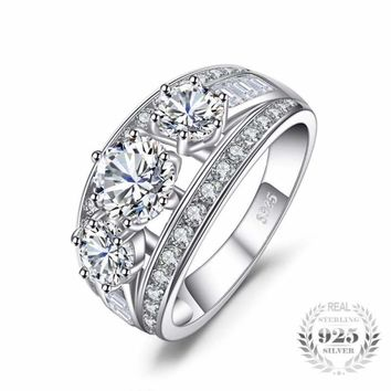 Cubic Zirconia 3 Stone Ring 925 Sterling Silver
