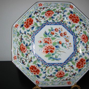 Imari Style Porcelain Charger Hexagonal Floral Medallion Gilt Decorated
