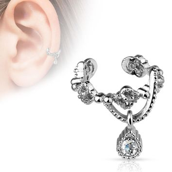 Gorgeous Chain with Gem Dangle Rhodium Plated Brass Non-Piercing Ear Cuff   Overstock.com Shopping - The Best Deals on More Earrings