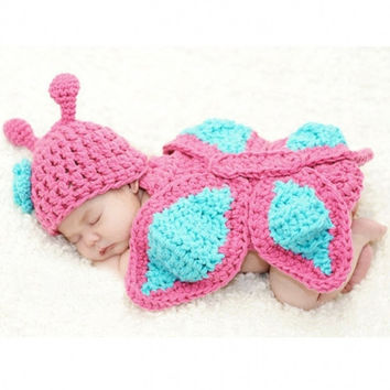 New Fashion Born Baby Girl Clothes Romper Butterfly Design Knit Photo Prop Outfits