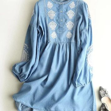 Casual Embroidery Women Denim Dresses