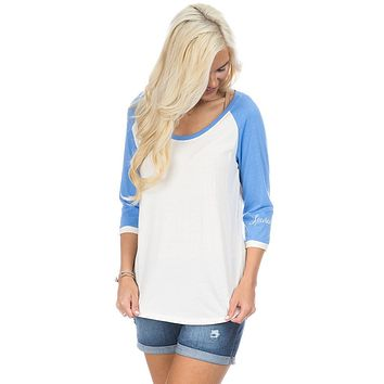 Heathered Baseball Tee in Delta Blue by Lauren James - FINAL SALE