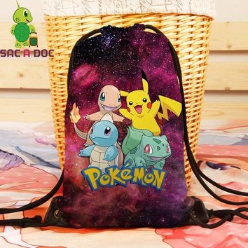 Women Galaxy  Pikachu Squirtle Backpack Universe Space Travel Softback Drawstring Bag Mens Canvas School BackpacksKawaii Pokemon go  AT_89_9