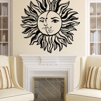 Sun and Moon Wall Decal Vinyl Bedroom Night Boho Ethnic Sticker Home Decor SM171