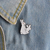1pcs Cartoon Cute 2 White Rabbits Evil Brooch Pins