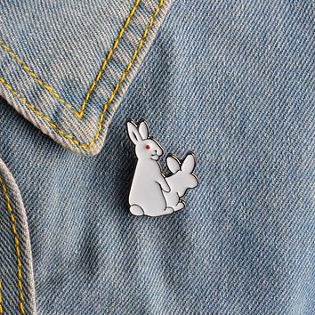White Rabbits Brooch Evil Animal Bunny Enamel Metal Buckle Pin For Coat Shirt Bag Jacket Collar Lapel Pin Badge Jewelry Gift