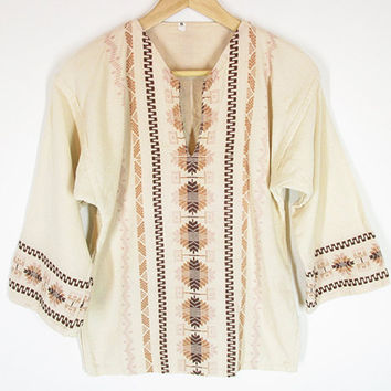 Vintage 70s Embroidered Shirt -- Peasant Blouse -- Hippie Top -- Bell Sleeves -- Boho Ethnic Shirt -- Woven Cotton -- Womens XS / S