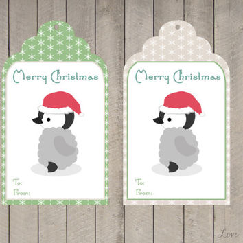 Christmas gift tag - baby penguin