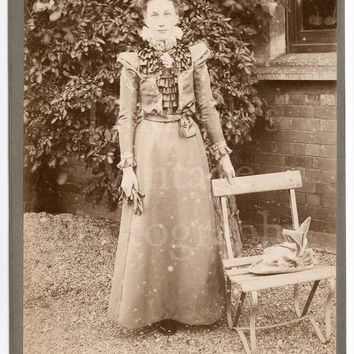 Cabinet Card Photo Outdoor Portrait Standing Victorian Woman in Garden - R Sneath Leicester England (Still has Tissue Overlay)