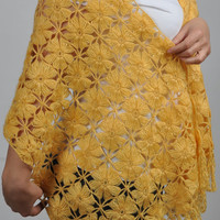 Mustard shawl / Mustard yellow crochet shawl Yellow mohair shawl,Mustard scarves,Mustard Shawl for women,Valentine gifts scarf,gift ideas