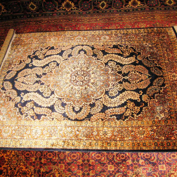 PERSIAN CARPET Oriental rug genuine kashmir pakistan india 4x6 hand knotted 100% silk kashmiri brand new bedroom 700 kpsi navy blue fine