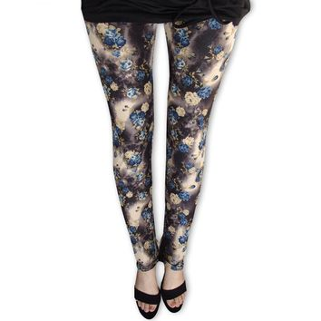 Floral Pattern Leggings - Ladies High Waist Fitness Leggings