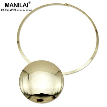 MANILAI Unique Design Collar Choker Necklace Women Accessories Charm Torque Big Metal Circle Pendants Statement Jewelry CE4002