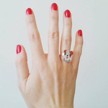 Poochie Mama ring - statement ring - shrink plastic jewelry