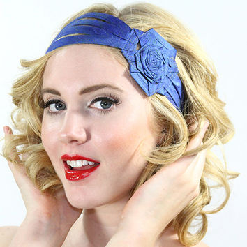 Big Flower headwrap, blue headband, flapper headband, headband