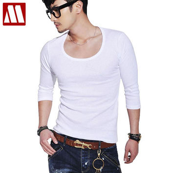 New Casual cotton t shirts for men O-Neck Long Sleeve Shirt Men's Slim Fit Solid Color Stylish Scoop Neck men tops 18 color