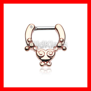 Rose Gold Septum Clicker Ring Horseshoe Tribal Saia Clicker Ring Cartilage Earrings Nipple Ring Circular Barbell Tragus Jewelry Helix Conch