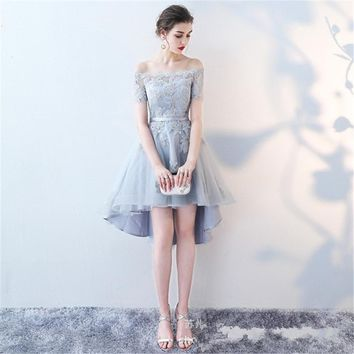 Boat Neck Short Sleeve Lace Illusion Elegant Cocktail Gowns Cocktail Dress