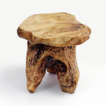 Live Edge Log Stool, Tree Stump Stool, Plant Stand, Wood Side Table, Nightstand, Cedar Mushroom Stool, Reclaimed Wood Furniture, HW950-300