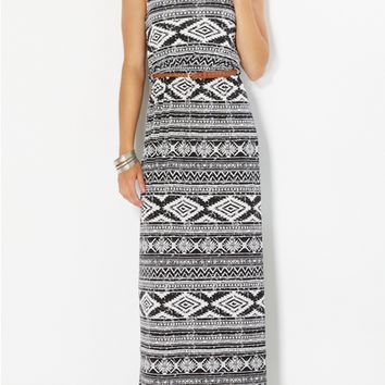 Belted Border Maxi Dress