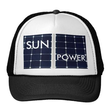 Solar power panel trucker hat