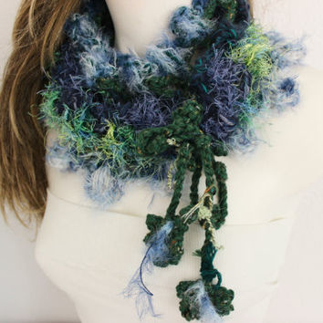 Hand knit scarf infinity valentine gifts unique products green blue purple colors infinity scarves free headband soft scarf women's fashion
