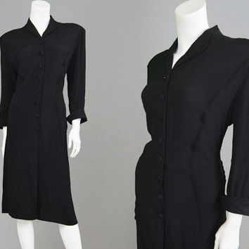 Vintage 40s Dress Black Crepe Dress 1940s Evening Dress Large XL 1940s Dress WW2 Dress Cocktail Dress Formal Dress Little Black Dress Pinup