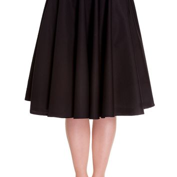 Hell Bunny Retro 60's Office Lady Black Basic Swing Circle Skirt