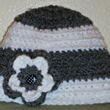 Crocheted Stripe Flower Hat with Polka Dot Button! Handmade to Order-Newborn, baby, child, teen or adult, any color!